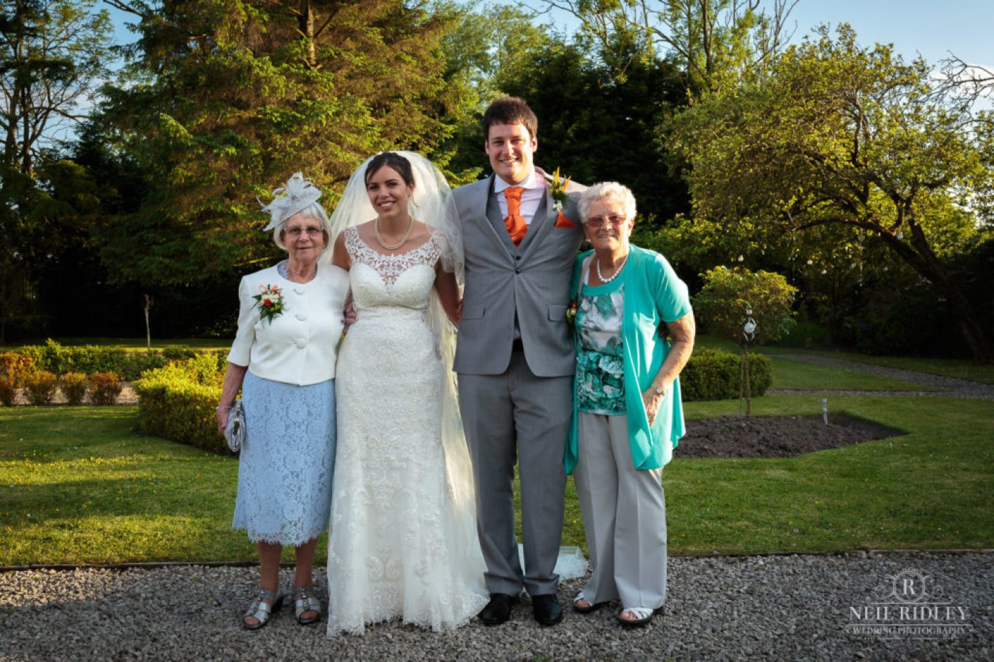 Bride and Grandparents in the grounds at The Great Hall Of Mains
