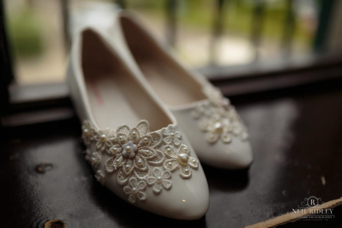 Lancaster Wedding Photographer - Brides wedding Shoes at Lancaster House Hotel