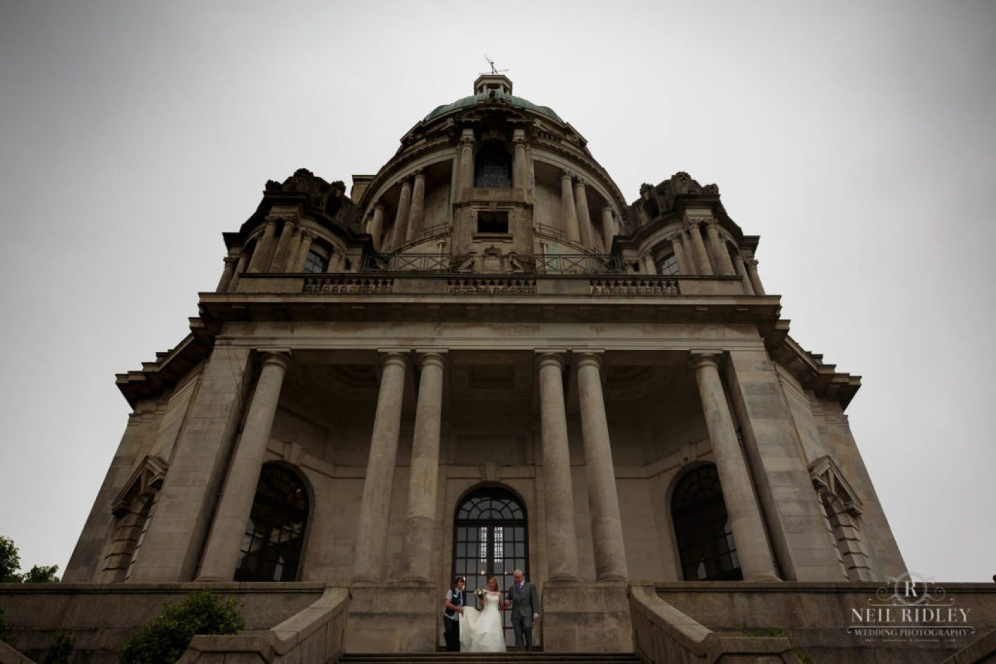 Lancaster Wedding Photographer - Bride and her Father outside Ashton Memorial, Lancaster