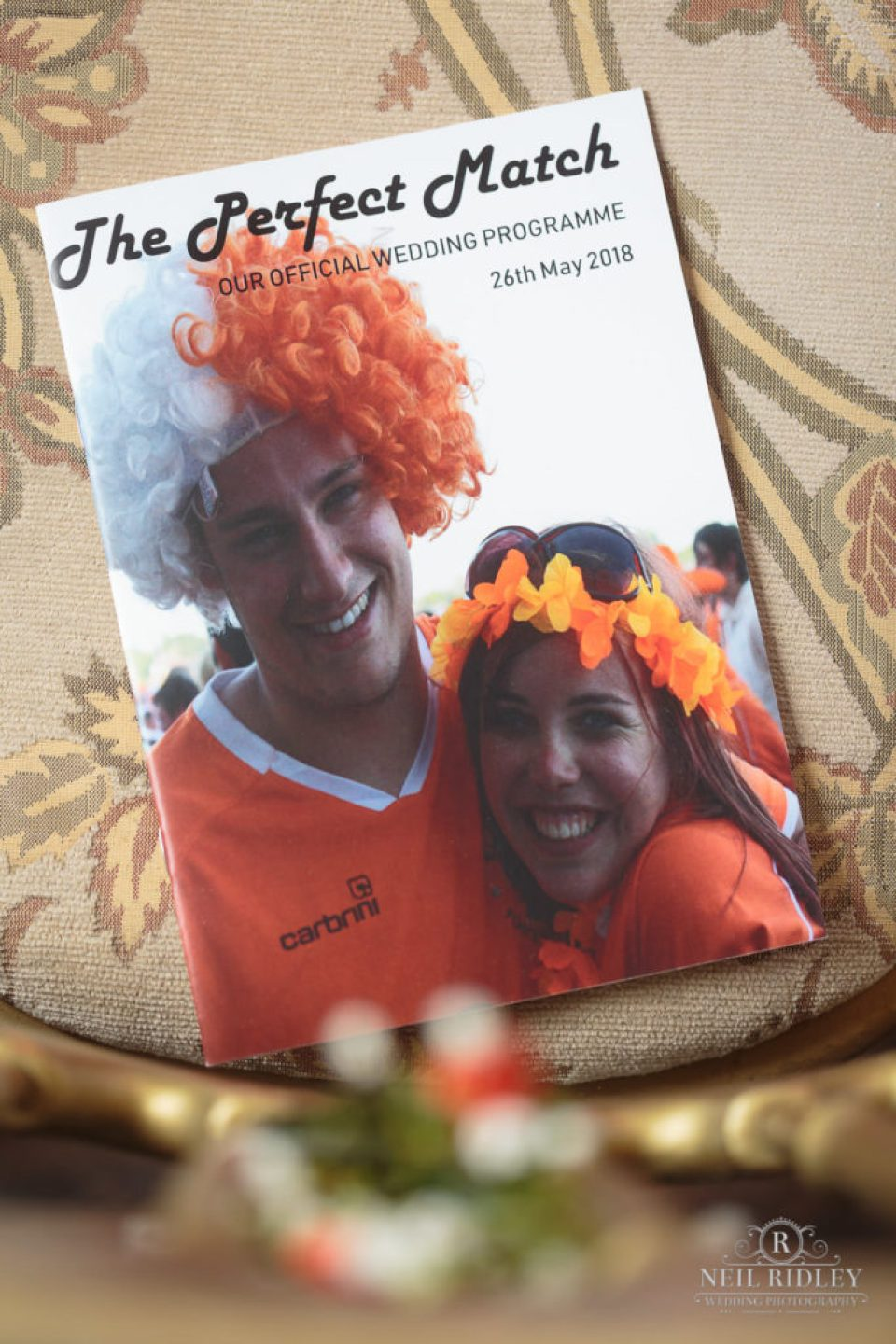Personalised match of the day programme for wedding