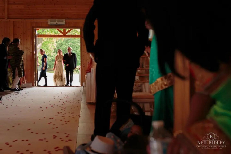 Merrydale Manor Wedding Photographer - Bride entering the Ceremony Room