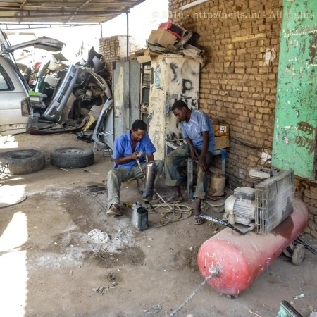 Boys welding without protection