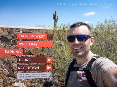 Me at the entrance of Taliesin West