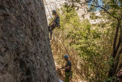 Belaying down after a good climb