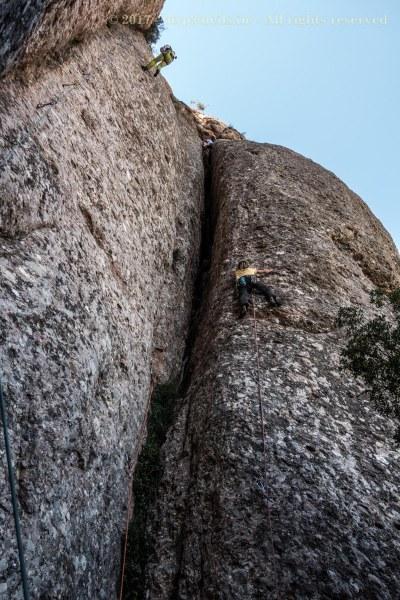 Julien effortlessly climbing a 7a