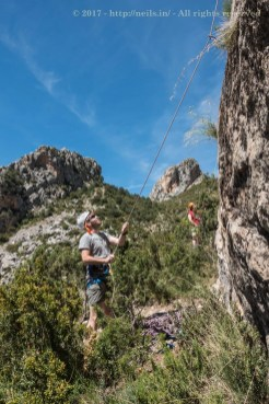Me belaying, before hitting defeat