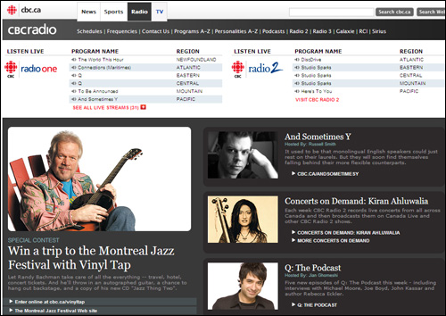 CBC Radio front page