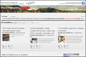Slices of Boulder community news website for Boulder, Colorado