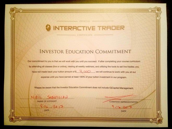 Interactive Trader Certificate