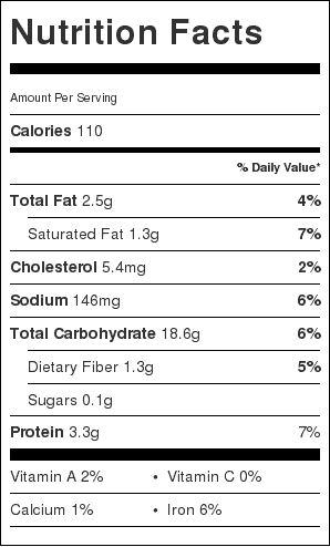 Wholemeal Bread Nutrition Label