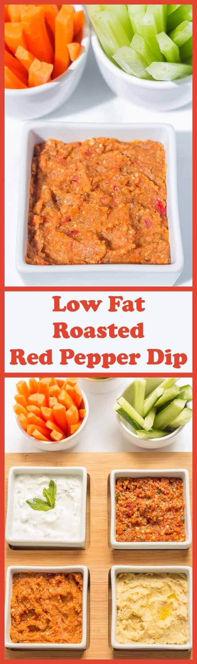 This delicious low fat roasted red pepper dip is made from a unique combination of healthy veggies which combine and marinate together to produce a rich and hearty taste. Your dinner party friends will be in awe at this flavoursome dip!