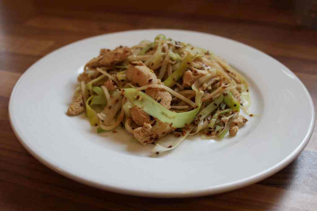 Stir Fried Sesame Chicken, Leek and Noodles