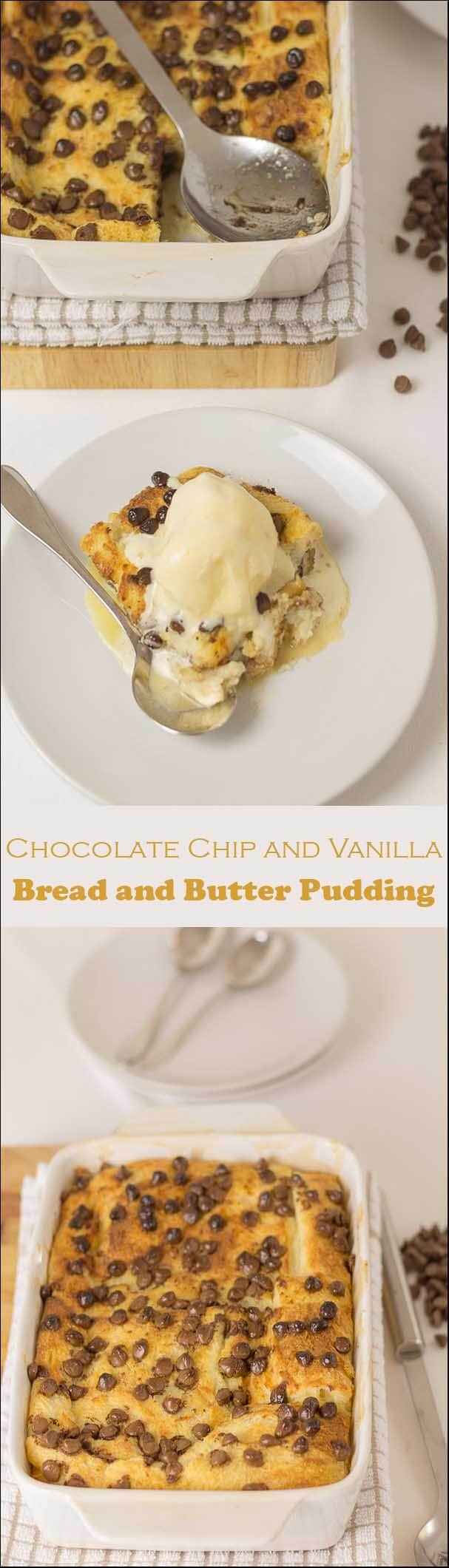 The traditional bread and butter pudding is brought up to date with this wicked chocolate chip vanilla bread and butter pudding. This is simple to make and you will love it!