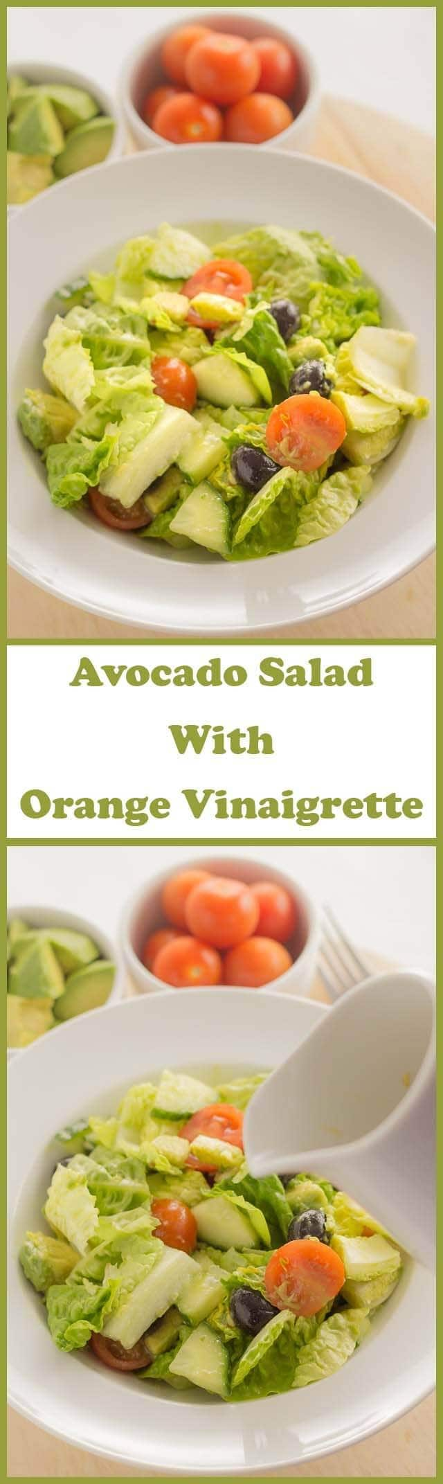 Avocado salad with orange vinaigrette is a simple low calorie 10 minutes freshly prepared salad with a sweet and tangy fresh tasting dressing. Perfect for packed lunches!