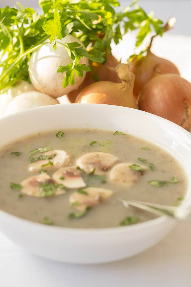 This healthy cream of mushroom soup is made with no cream but still tastes just as creamy and yummy as the original. But, this one's without the calories!