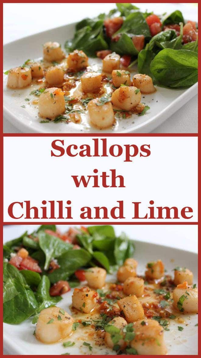 This scallops with chilli and lime recipe is quite simply one delicious and quick dish that can be put together and on the table in literally 20 minutes! Little fuss is involved to serve this with a recommended, complimentary equally quick spinach and toasted pine nut salad. Simplicity and delicious healthy ingredients at their best.