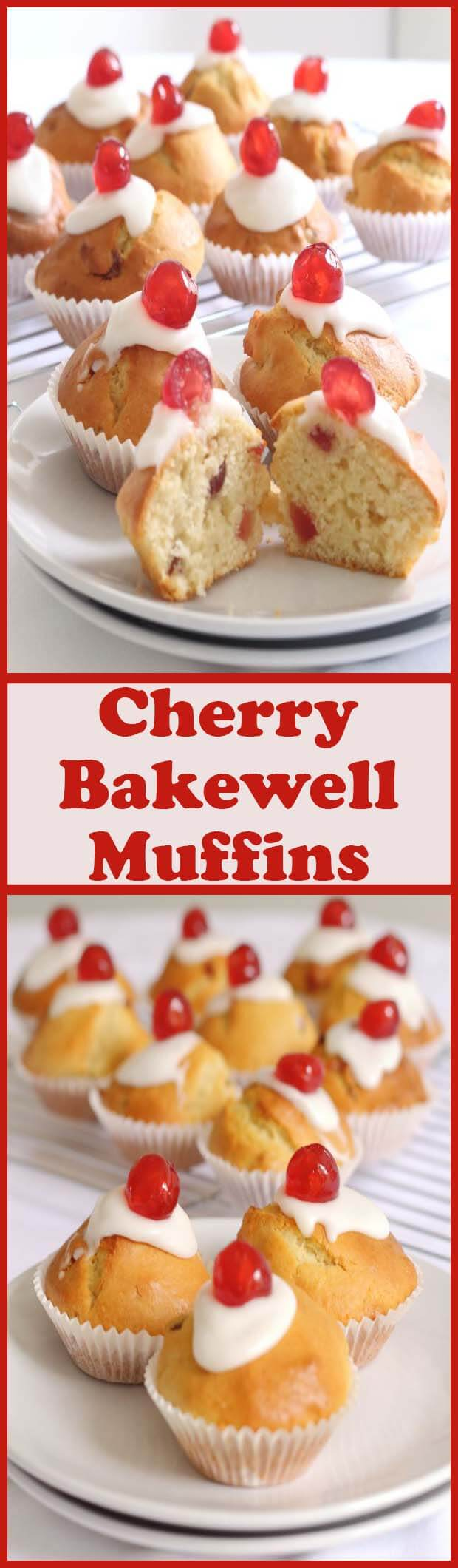 These cherry bakewell muffins are simply fabulous! With a light fluffy texture, a delicious icing topping and a sweet cherry to top, they're my take on the classic bakewell tart. If you love those, try these, plus they won't affect your waistline as much being only 200 calories each!