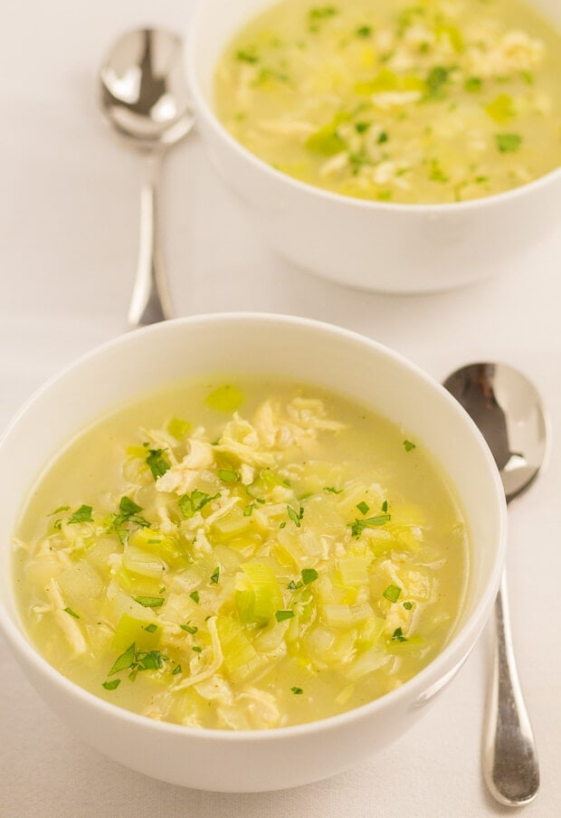 This easy chicken soup recipe is a great quick healthy meal to put together if you don't have the luxury of left over chicken lying about. It's made from just one chicken breast, leek, onion, rice and stock. It's as simple as that. It tastes absolutely delicious and its only 234 calories per serving!