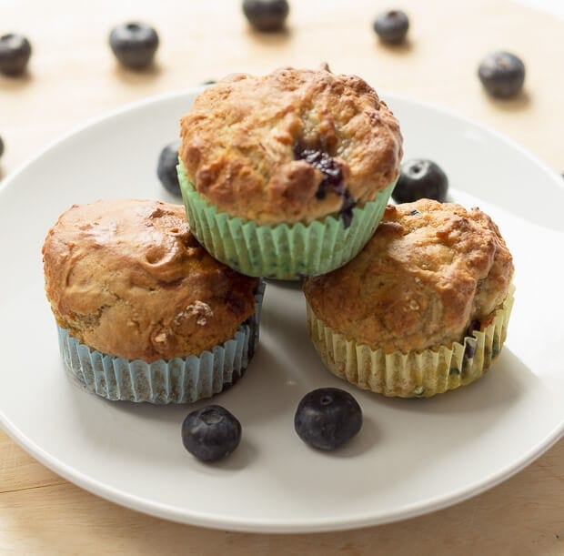 Delicious low calorie burst in the mouth healthier banana blueberry breakfast muffins. Ideal as little portable snacks too.