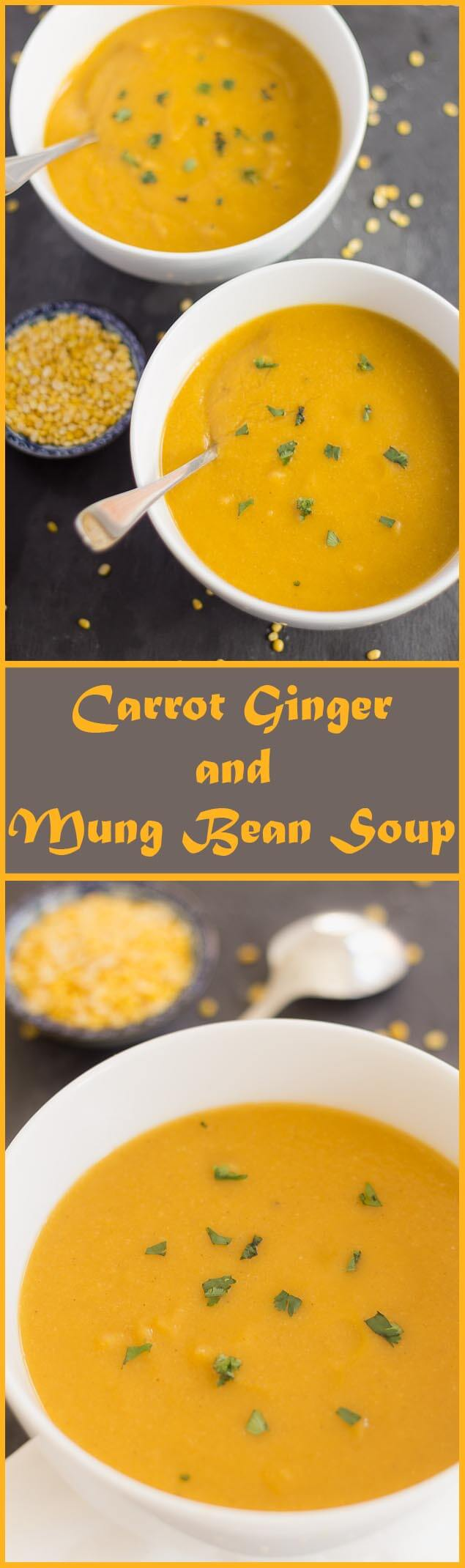 Lightly spiced to give it a warming taste, this unique, vibrant, and extremely healthy carrot ginger and mung bean soup recipe also makes an extremely fibrous and filling meal.