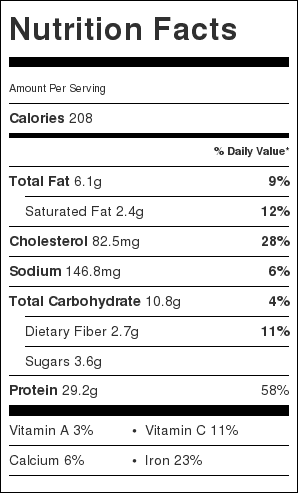 Mild Beef Curry Nutrition Label