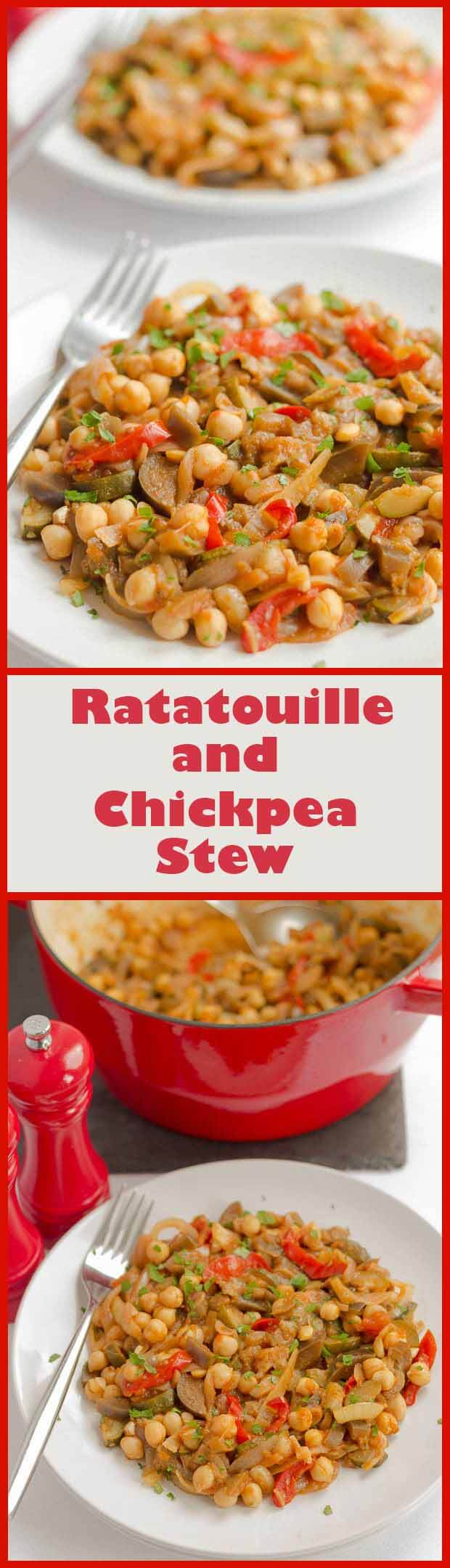 Take the classic, traditional, French Provencal stewed vegetable dish, Ratatouille, add some protein packed chickpeas, lemon juice and a lightly sautéed onion and you end up with this deliciously tasty vegetarian ratatouille and chickpea stew.