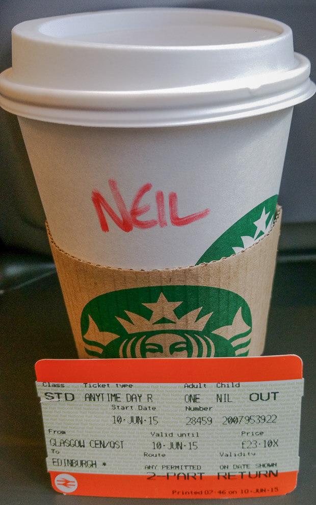 Starbucks and Train Ticket