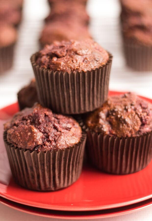 These gluten free chocolate and beetroot muffins have a deliciously moist and fluffy textured centre. They ooze with chocolate taste and are extremely simple to make.