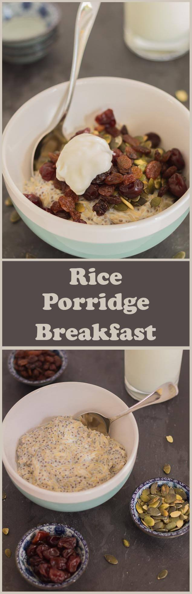 This rice porridge breakfast makes a delicious and ready to be heated up morning porridge breakfast. Ideal for using up either white or wholegrain basmati rice. Your body will thank you for a proper nutritional start to the day!