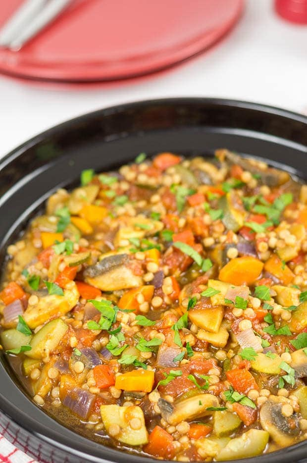This couscous ratatouille is a delicious vegan medley of vegetables combined with giant couscous, making for a perfect filling quick healthy meal.