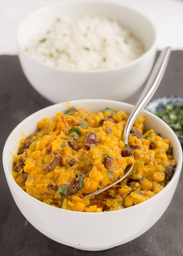 This vegan lentil and kidney bean dal is my version of dal makhani. It's a really tasty red kidney bean curry. A perfect quick healthy meal to suit anyone who likes a medium hot curry.