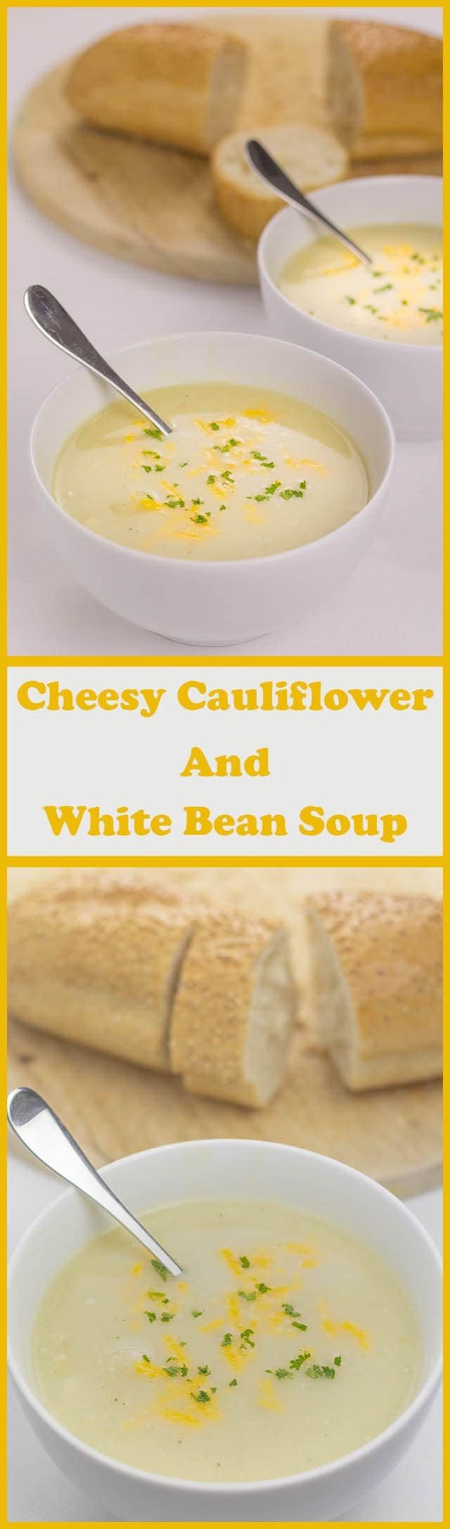 My cheesy cauliflower and white bean soup is a delicious way of creating a twist on the classic combination of cauliflower cheese in the form of a healthy versatile bean soup. Low in fat but packed with essential protein this makes a great, quick healthy lunchtime staple.