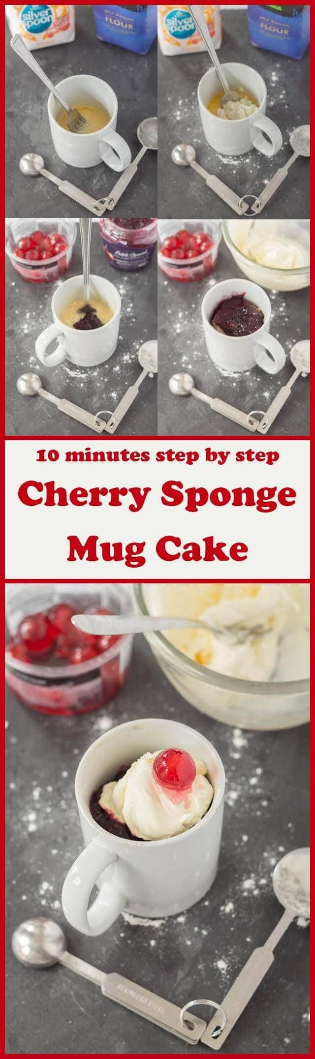 Cherry sponge mug cake is a delicious sweet combination of fruit flavours that just takes 10 minutes to make. This is a perfect pudding treat for when you have very little time but crave the combination of something a little naughty!