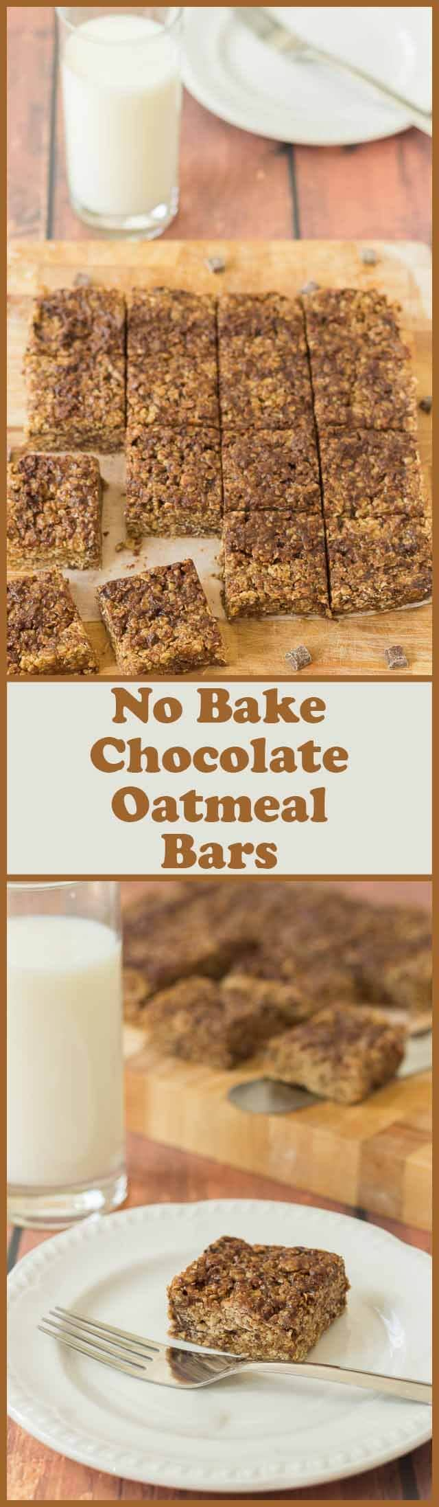 No bake chocolate oatmeal bars. Just 5 ingredients and 10 minutes to assemble then time in the fridge overnight and you'll have these delicious treats ready for you to carve.