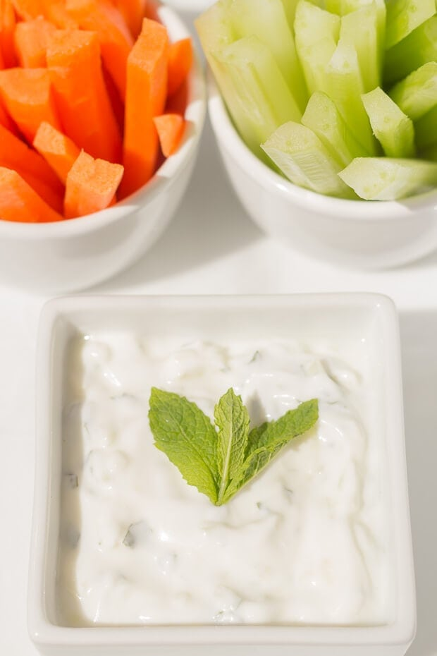 Tzatziki. These 4 easy healthy dips to make are perfect for sharing with friends or taking to parties. Tasty and delicious, these guilt free dip recipes are made with less salt, are low in fat and have no sugar added unlike shop bought. Your friends will thank you for helping to look after their waistlines!