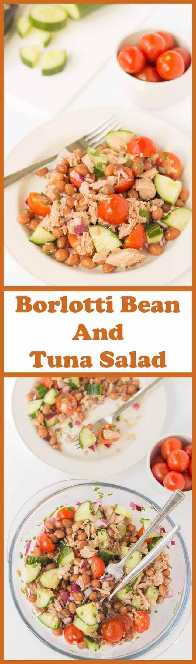 It only takes 15 minutes to make this simple borlotti bean and tuna salad. It's enough to feed a family of 4 and it's packed with healthy goodness. This tasty recipe makes for an excellent quick healthy meal, ideal as a lunch or dinner option!