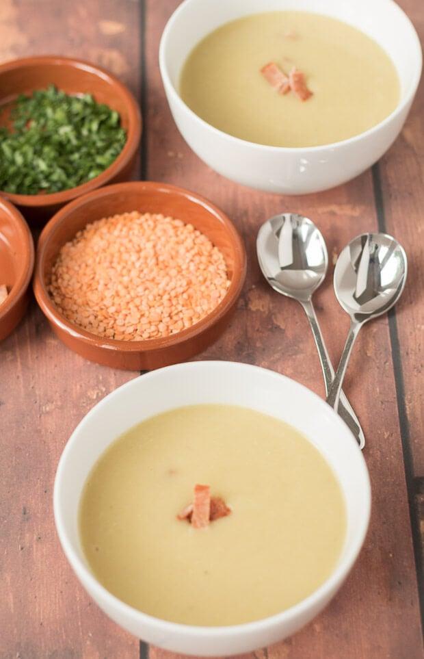 Lentil And Potato Soup With Crispy Bacon
