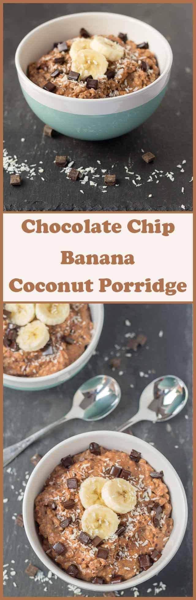 Chocolate chip banana coconut porridge is the perfect brunch start to your weekend. It takes just 5 minutes to combine oats, chocolate chips, banana and coconut milk into this mouthwatering deliciously creamy breakfast lunch!