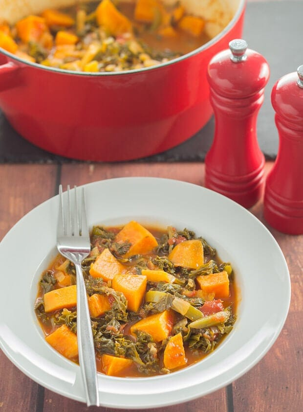 Sweet potato and kale hotpot is a hearty all in one quick healthy meal. It's perfect for winter as you'll find this low cost vegan stew is packed full of vitamins that help keep colds and flu away!
