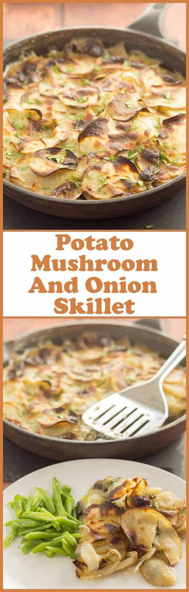 Potato mushroom and onion skillet is a perfect go-to recipe for when you're short of time and looking for a quick budget meal all in one pan.