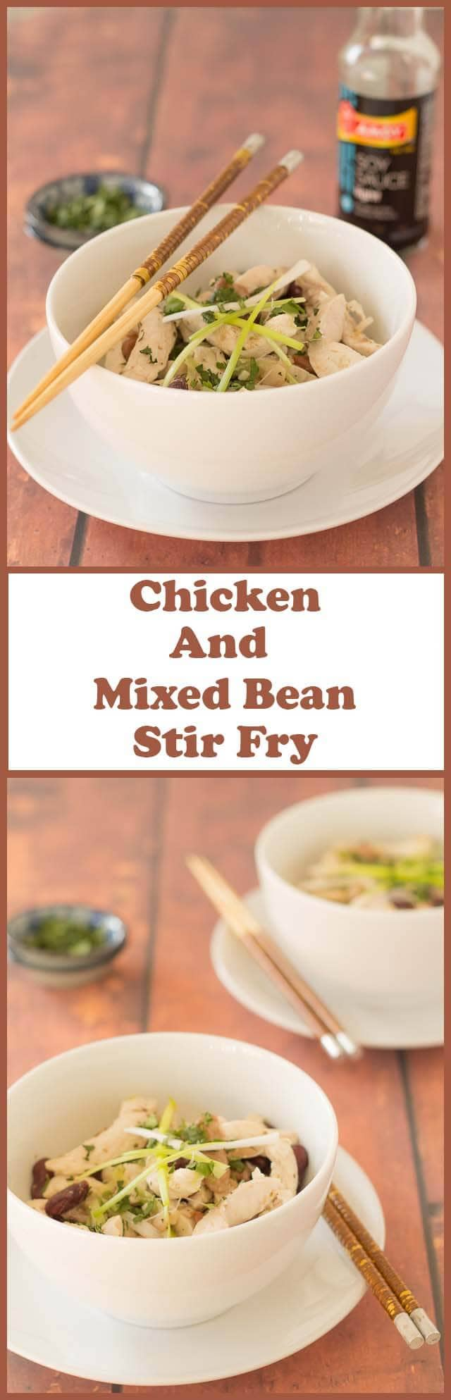 This chicken and mixed bean stir fry recipe is just about as simple, healthy and time saving as stir fry recipes get! Chicken breasts, a can of mixed beans and some store cupboard spices are all it takes to make this low cost meal for two!
