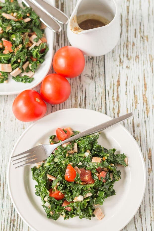 Kale and turkey bacon salad is a delicious and easy to prepare lunch or dinner option. With a tangy garlicky balsamic dressing it makes for an amazingly simple nutritious quick healthy meal!