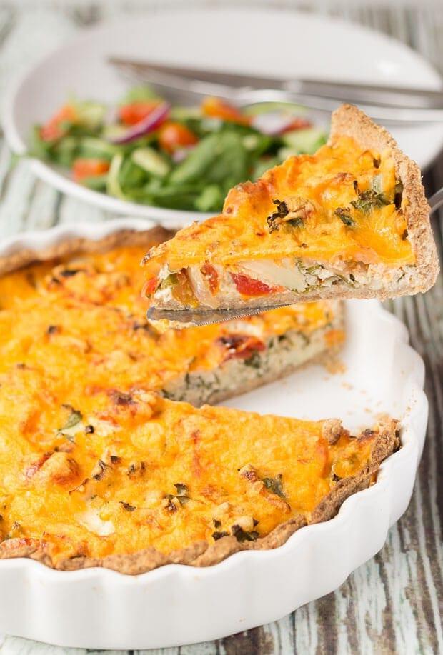 Cheesy Tomato And Kale Quiche