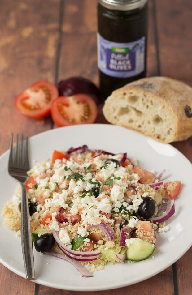 This couscous Greek salad with home-made dressing is a delicious, filling and easy to make summer salad packed with lots of healthy goodness. Made in just 20 minutes!
