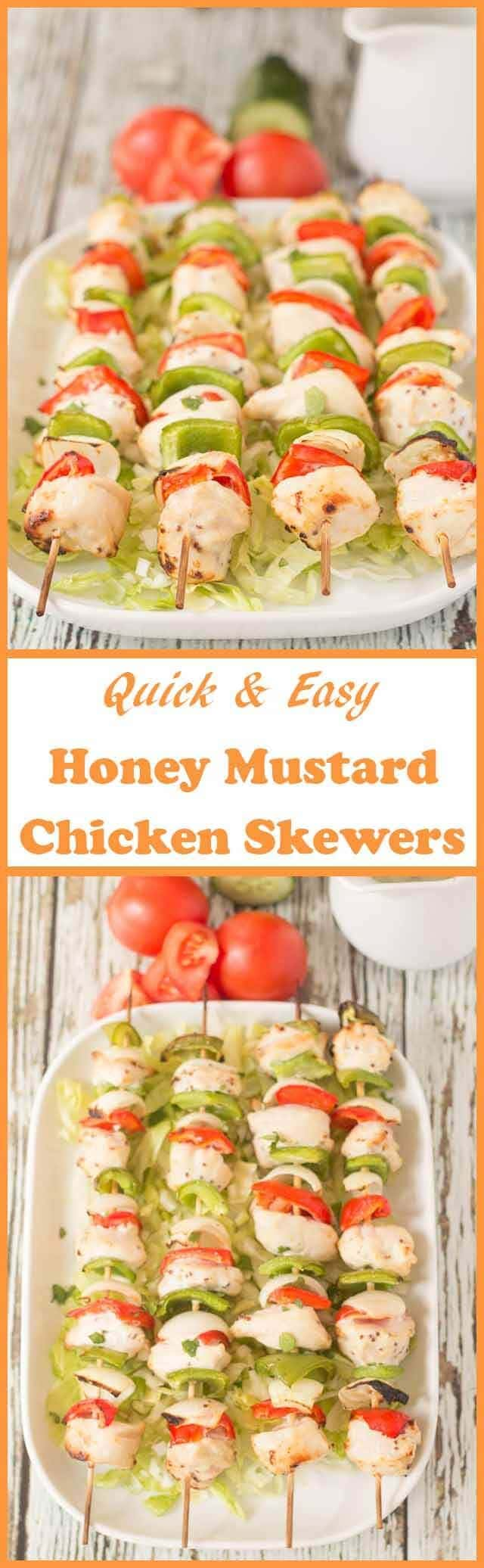 These honey mustard chicken skewersare so easy to make and tasty too. They're grilled in just 25 minutes and are delicious served in wraps with a salad.