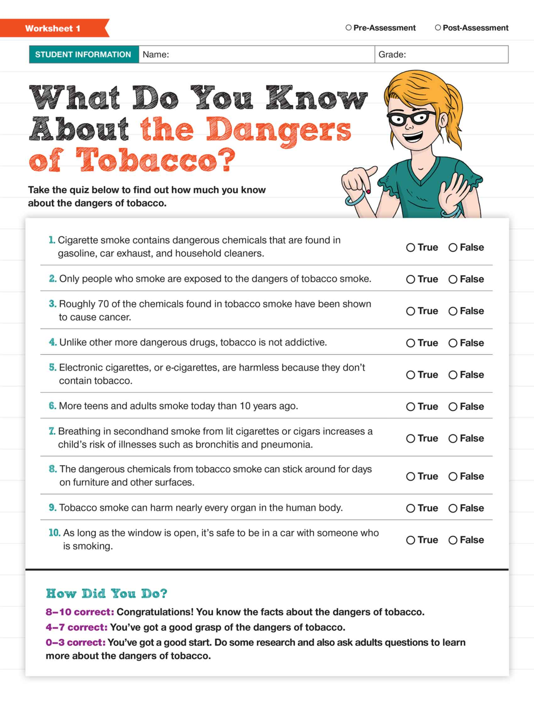 No Smoking Printable Worksheet