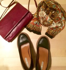 Dark red bag by Three Bags (vintage section), black high heels by & Other Stories and a scarf (flea market).