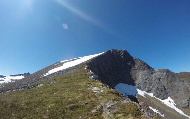 På veg opp på fyrste fjell, Bergehornet 1024 moh