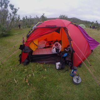 Gjeld å lesse på teltet når man kan