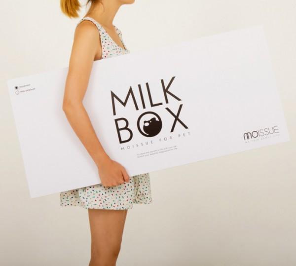 131021cathouse04 600x539 - ミルク好きにはたまらない、ミルクパック型猫ハウス
